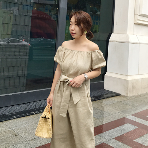 Beige off shoulder ops